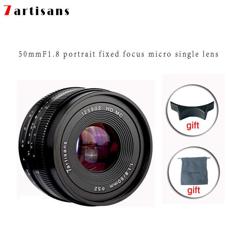 7 ремесленников 50 мм f1.8 Большая диафрагма портрет ручной фокус микро объектив камеры подходит для Canon eos-m крепление E-Mount Fuji FX-количество
