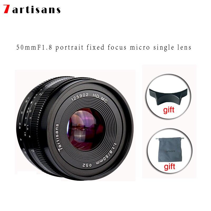 7 artisans 50mm f1.8 Grande Ouverture Portrait Mise Au Point Manuelle Micro Camera Lens Fit pour Canon eos-m Montage e-Mont Fuji FX-Montant