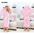 100% Flannel Caroon Animal Robes For Girl Kids Hooded  Pink Dinosaur Pajamas peignoir enfant Long Sleeve Children's Bathrobes