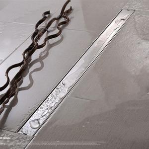 Image 4 - AODEYI 600mm długa taśma odpływ podłogowy 304 stal nierdzewna odporny na zapachy z płytką wstaw ruszt niewidoczny odpływ prysznicowy szczotkowany