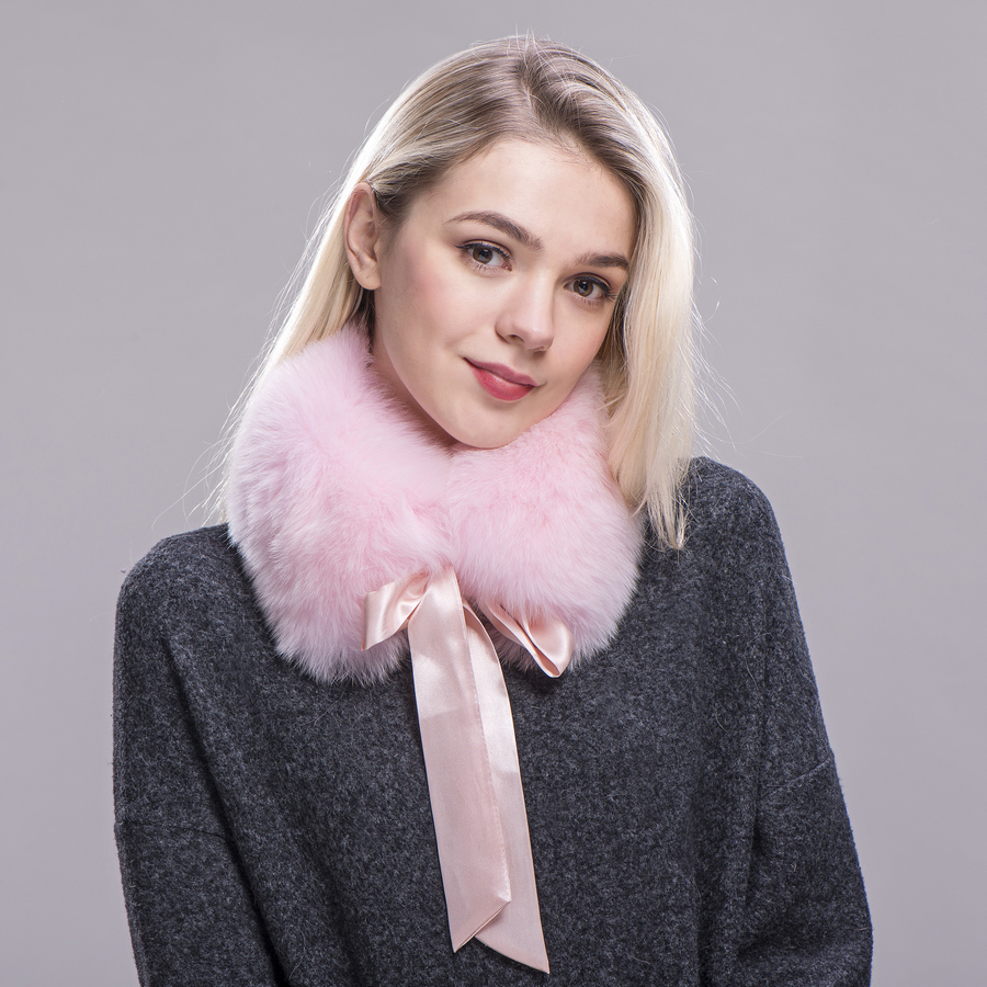 ZDFURS* women real fur collar   scarves   winter warm real fox fur scarfs   wraps   with ribbons   scarf   coat collar fur neck warmer