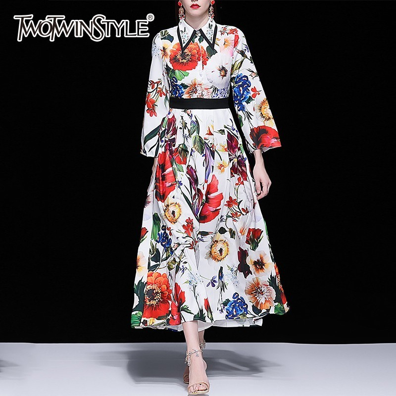 TWOTWINSTYLE Print Dresses Female Lapel Collar Beading Long Sleeve High Waist Long Dress Women Elegant Fashion