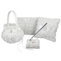 OurDecor 4Pcs/lot White Flower Decoration Wedding Guest Book& Pen Set &Ring Pillow &Girls Flower Basket Decor Bridal Products