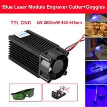 Blue Laser Module Laser Engraving and Cutting TTL 2W 2000mW 450/445nm with TTL Driver цена в Москве и Питере