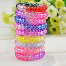 Large size 5cm  telephone line hair ring high elastic candy colored translucent rainbow hair accessories hair jewelry