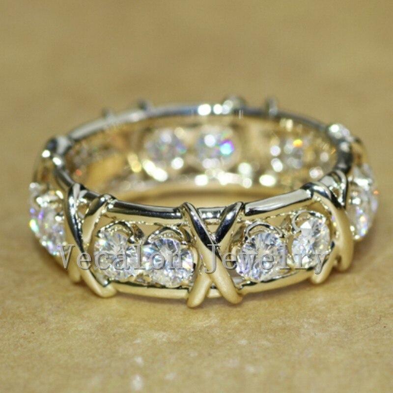 Vecalon Marque Bijoux De Fiançailles De Mariage bague pour les Femmes 3mm pierre AAAAA Zircon Cz 10KT Jaune Or Rempli Femme anneau