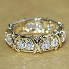 Vecalon marka biżuteria obrączka pierścionek zaręczynowy dla kobiet 3mm kamień AAAAA cyrkon Cz 10KT żółte złoto wypełnione kobiece pierścień tanie tanio Other Kobiety Cyrkonia Zaręczyny Prong ustawianie Moda Klasyczny Zespoły weselne Geometryczne R463 Pierścionki 3mm*3mm