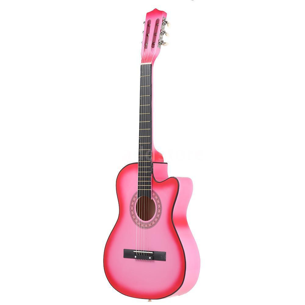 38 6 String Folk Acoustic Guitar for Beginners Music Lovers Students Gift Color:Pink
