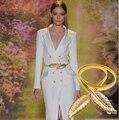 2015 Marca Marcas Cintos Elásticos para as mulheres de Prata de Ouro Da Folha de Plátano Fivela de Metal cinto Cadeia de Cintura Correia Da Senhora