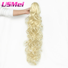 """USMEI 32"""" Synthetic Ponytail Wowen Wavy 613# Claw Clip in PonyTail Hair Extension  heat resistant fake hair pieces"""