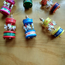 6 Pcs/Set Christmas Ornaments Cute Carrousel Merry-go-round Wood Craft DIY Home Desktop Decoration For Kids Toys Gifts WXV Sale