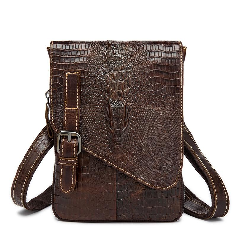 100% Genuine Leather Men Messenger Bags Alligator Crossbody Bags For Men Free Shipping Men Bag