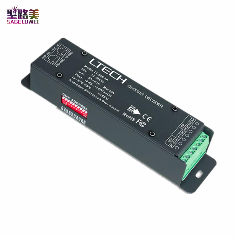 2019 DC12-24V Led Controller LT-858-5A DMX RDM LED Decoder 4CH CV RGBW Strip Controller 5A*4CH Max 20A RJ45 for led light ribbon2019 DC12-24V Led Controller LT-858-5A DMX RDM LED Decoder 4CH CV RGBW Strip Controller 5A*4CH Max 20A RJ45 for led light ribbon