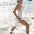 Chiffon Summer Vestidos Sexy Women White Beach Dresses Casual O-Neck Backless Long Maxi Dresses AT08