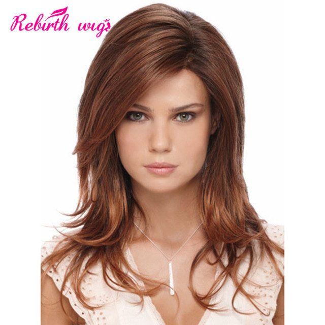 Black Women Auburn Wigs Synthetic Hair Wig With Side Bangs Long