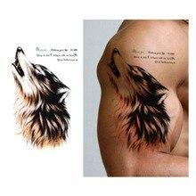 2 Sheets Water Transfer Fake Tattoos Colorful Wolf Roar Tattoo Waterproof Temporary Tattoo Stickers Flash Tattoo For Men Women