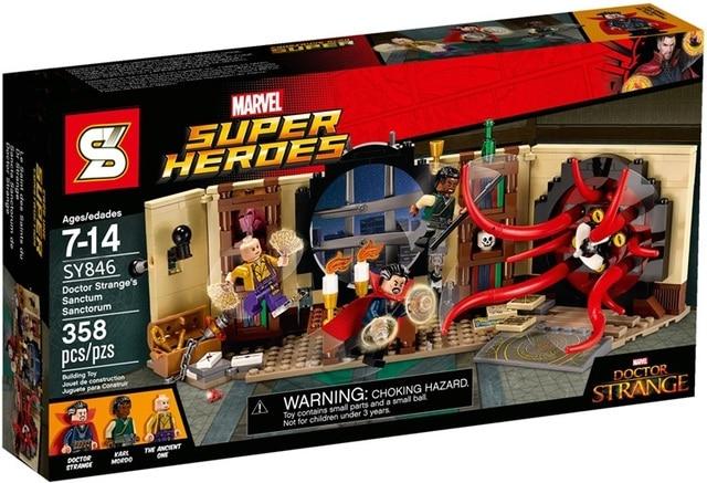 SY846 Marvel avengers super heroes  Figures Mystery Doctor Bookstore Models Building Blocks toys for children Lepin
