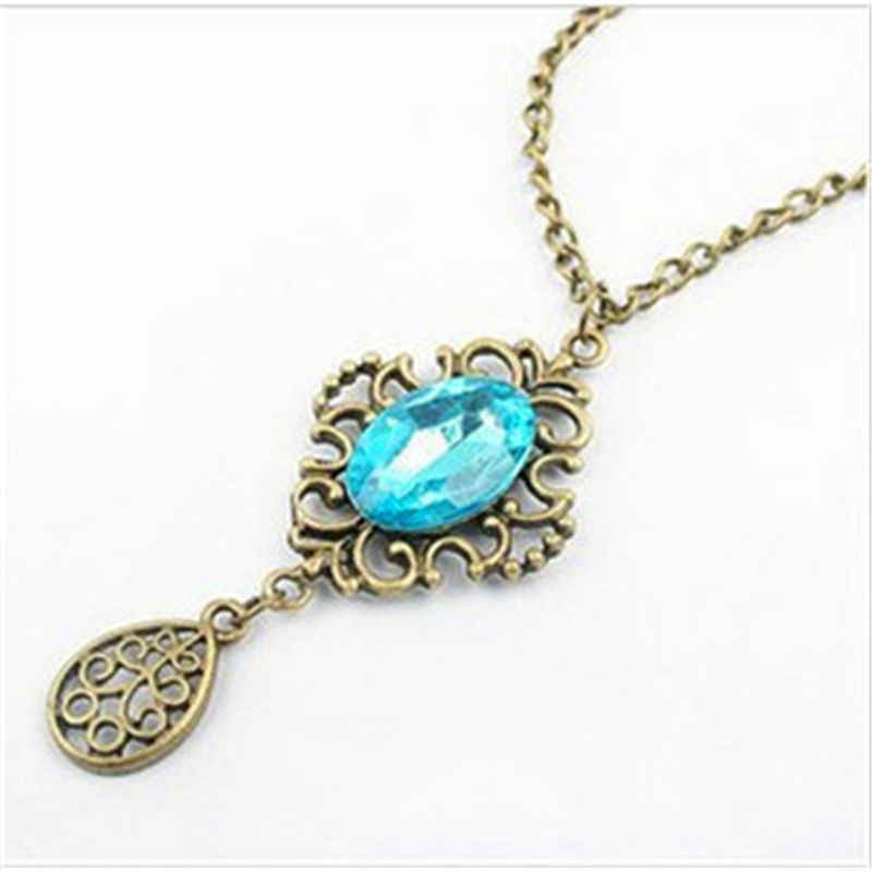 Трендовое винтажное ожерелье с подвеской, большие стразы, капля воды, Хрустальный цветок, длинная цепочка, ожерелье, античное золото, колье для женщин x16