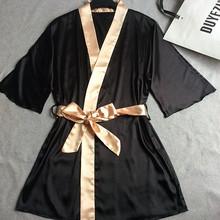 Women Silk Satin Short Night Robe Solid Kimono Robe Fashion Bath Robe Sexy Bathrobe Peignoir Femme