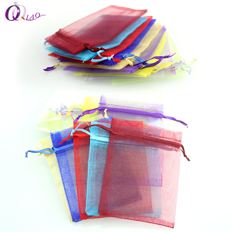 Multi-color optional 50pcs/lot 7*9cm organza Christmas wedding gift bags jewelry packing drawable organza pouch bags 25 35cm 10 pcs lot faory christmas organza bags mini plastic bags