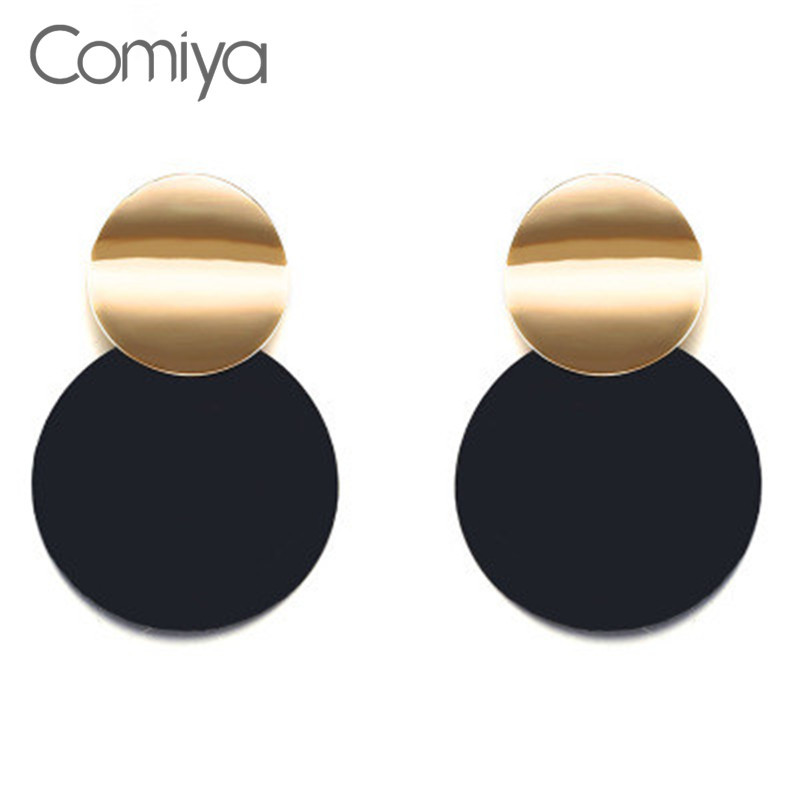 Comiya Fashion Drop Earrings For Women Acrylic Big Round Brincos Zinc Alloy Oorbellen Voor Vrouwen Bohemian Accessories Earring