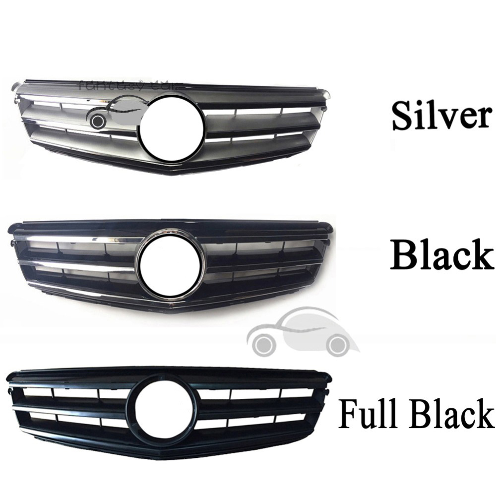 fit for <font><b>Mercedes</b></font> Benz C-CLASS W204 2008 2009 <font><b>2010</b></font> 2011 2012 2013 2014 AMG Grille C180 C200 <font><b>C300</b></font> Black Grill Silver image