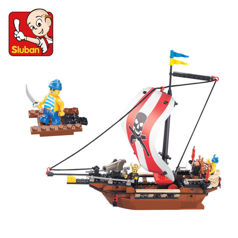 0279 sluban LEGOes Compatible Caribbean Pirates Ship Boat with Three Minifigures Building Blocks Children Toys