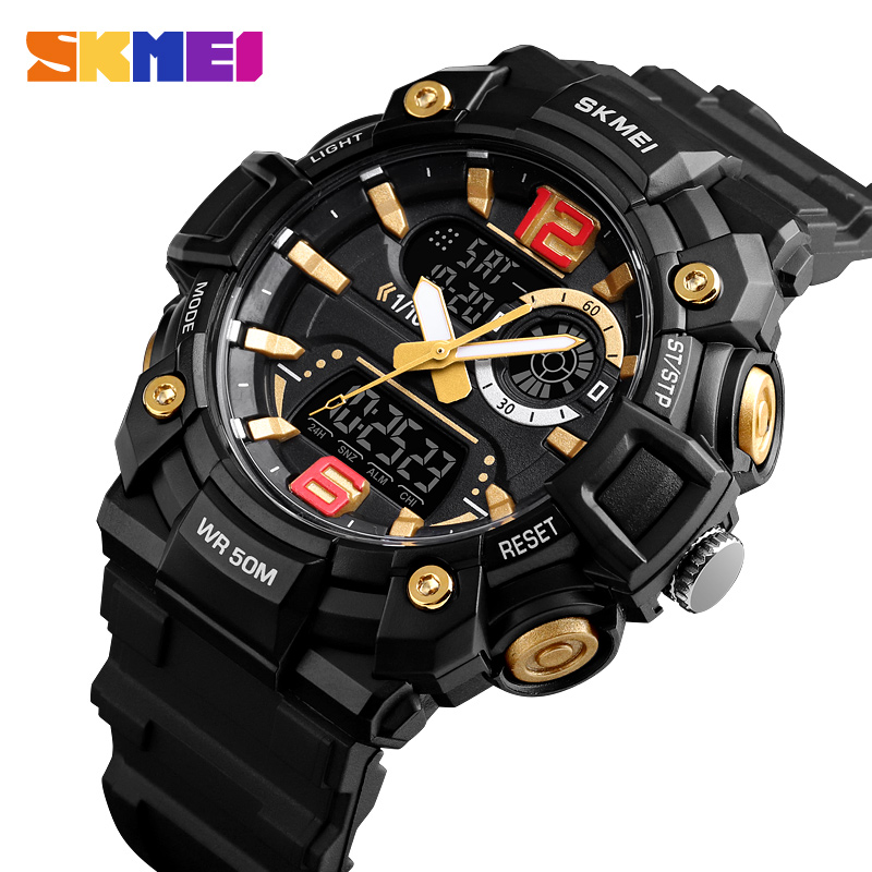 SKMEI Fashion Sport Watches Men Digital Watch 3Time Multi-Function 5Bar Waterproof Luminous Dual Display Men Watch Montre Homme