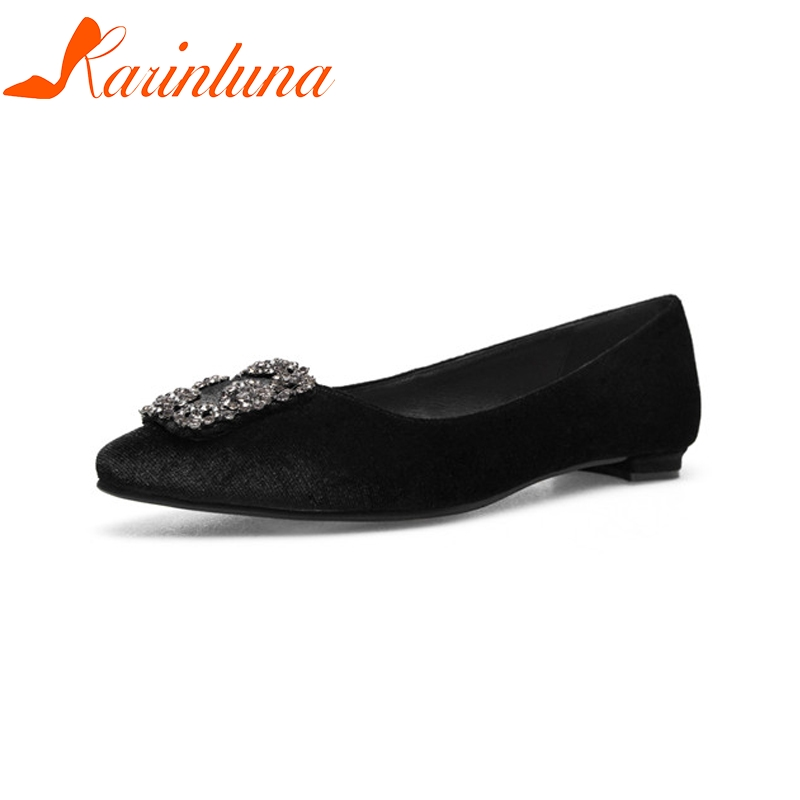 KARINLUNA New women's Flock Flat Crystal Pointed Toe Solid Shallow Shoes Woman Casual Spring Flats Black Big Size 34-43 moonmeek 2018 fashion spring autumn flat shoes woman pointed toe cross tied casual flock women flats big size 33 43