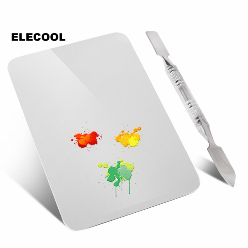 ELECOOL Professional Stainless Steel Cosmetic Makeup Palette With Spatula Tool Foundation Mixing Make Up Tool Beauty Tools