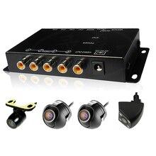 4 Kameras switch control box Ir-fernbedienung Auto Mehrere Kameras Video Bild für Vorne/Hinten/Links/Rechts ansicht-rück Parkplatz System
