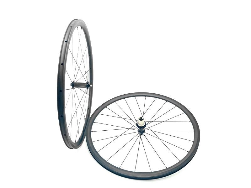 Carbone vélo de route roues 700C 30mm Ultra-Léger vélo roues 3 K et UD mat carbone 30mm roues pneu roue 24mm largeur