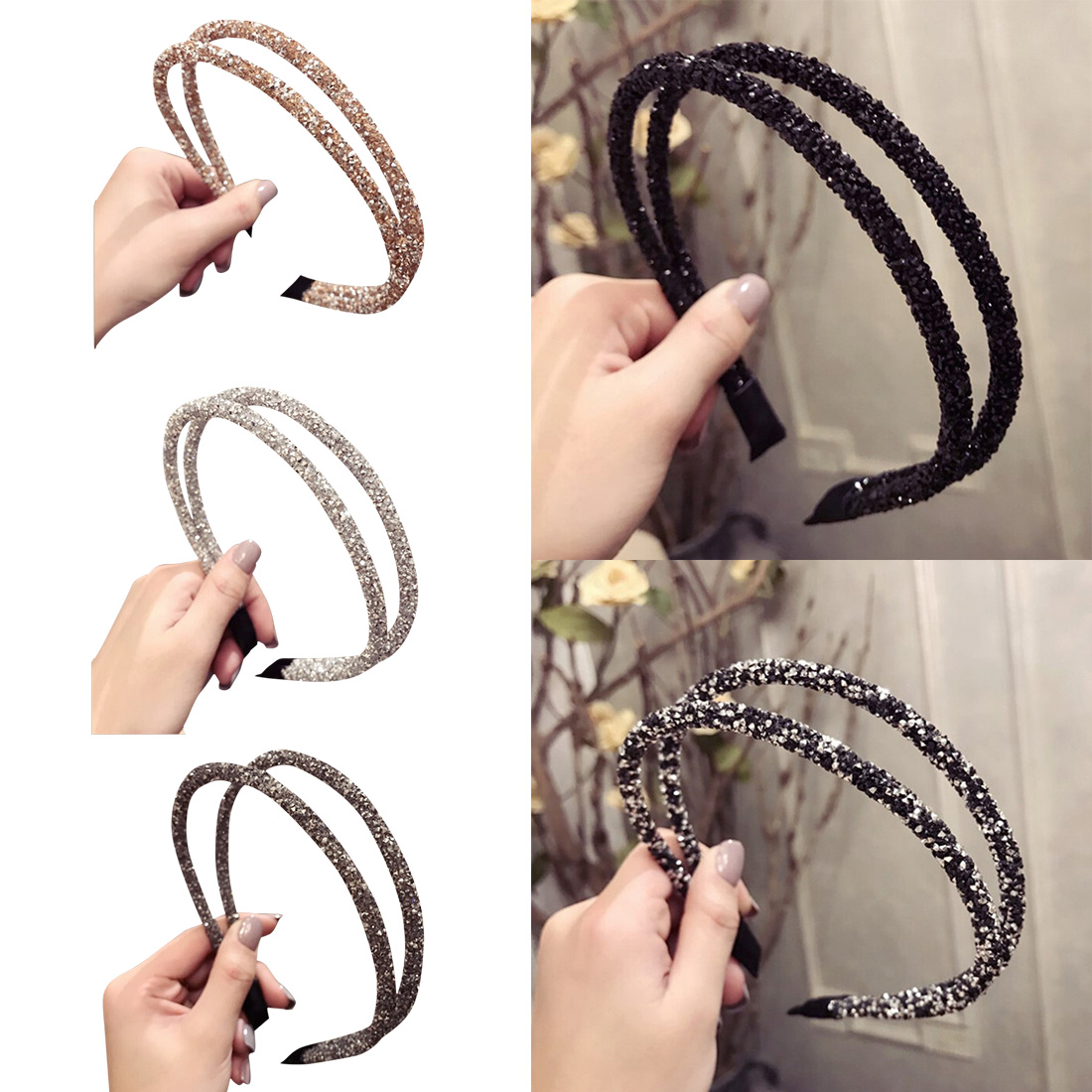Girls Hair Head Hoop Bands Accessories For Girls Hair Scrunchy Headdress Korean Full Drilling Double Thin Hairband Women in Hair Accessories from Mother Kids
