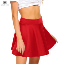 Urban CoCo Womens Basic Versatile Stretchy Elastic Waist Flared Female Mini Skater Skirt Solid A Line