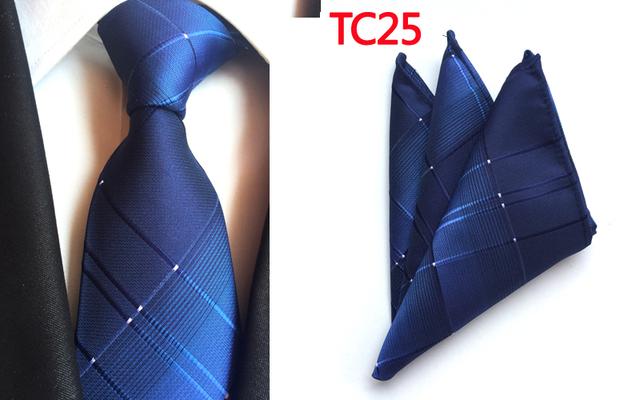 Lingyao 8 cm Moda Lazos Formales ESTABLECIDOS 2017 Elegante Color Llano Raya Azul Plata Ciñe con Corbata Establece Pañuelo