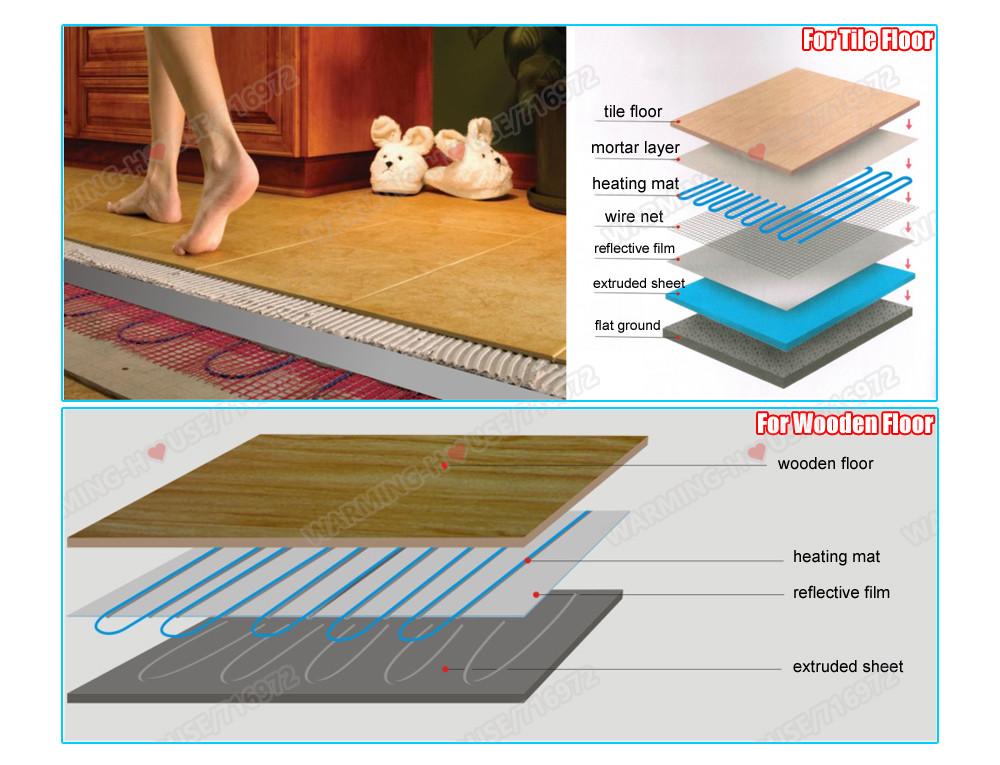 2sqm 160wm2 Floor Heated Cable Mat Kit Underfloor Heating System