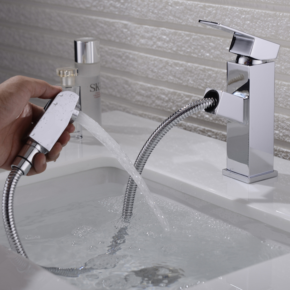 Bathroom Basin Faucet Water Tap Pull Out Spray Nozzle Solid Brass Single Handle Hot Cold Water Tap Mixer