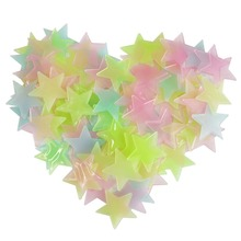 100PCS 3D stars Fluorescent plastic stickers DIY fluorescent stickers Free splicing graphics Fluorescence luminescence mobile 3d graphics