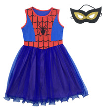 Spiderman Cosplay Baby Girl Dress Costumes Children Dress Kid Clothing Princess Halloween Party Clothes Girls Dresses + Mask