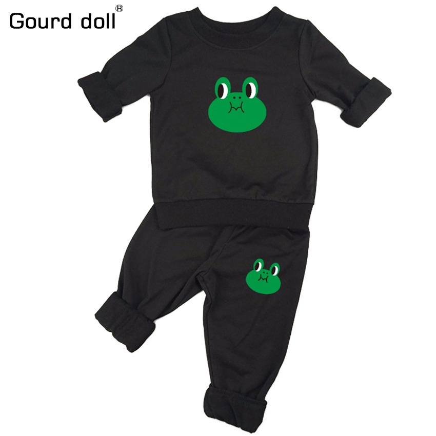 Frog Baby Clothing Sets Spring Autumn Baby Boys girls Clothes Long Sleeve T-shirt+Pants 2Pcs Suits Terry Children Clothing free shipping wholesale and reatil nickel brushed finished stainless steel floor drain