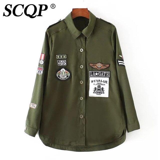 Письмо Знак Птица Вышитые Куртку Женщины Army Green Дамы Свободные Осень Куртки Женщины Моды Случайные Основные Пальто