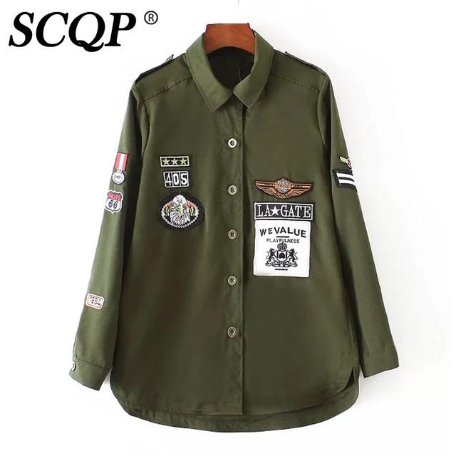 Carta Pássaro Crachá Bordado Bombardeiro Jaqueta Verde Do Exército Das Mulheres Das Senhoras Solto Queda Jaquetas Mulheres Moda Casual Mulheres Casacos Básicos