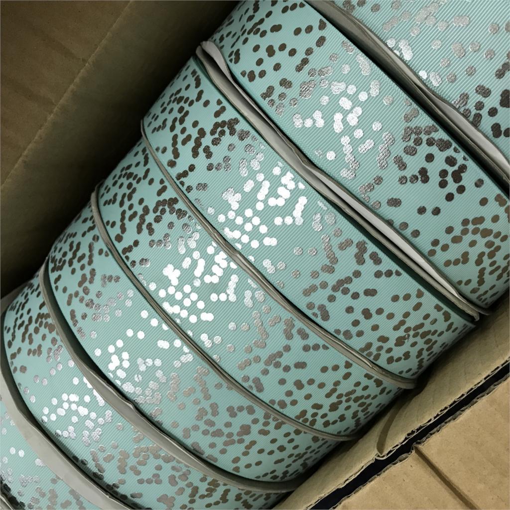 Сумасшедший скидка 1-1/2 «38 мм серебристого цвета блеск пятна печатных Grosgrain ленты для DIY Волосы Луки Детские/ детская ремесел 100 ярдов