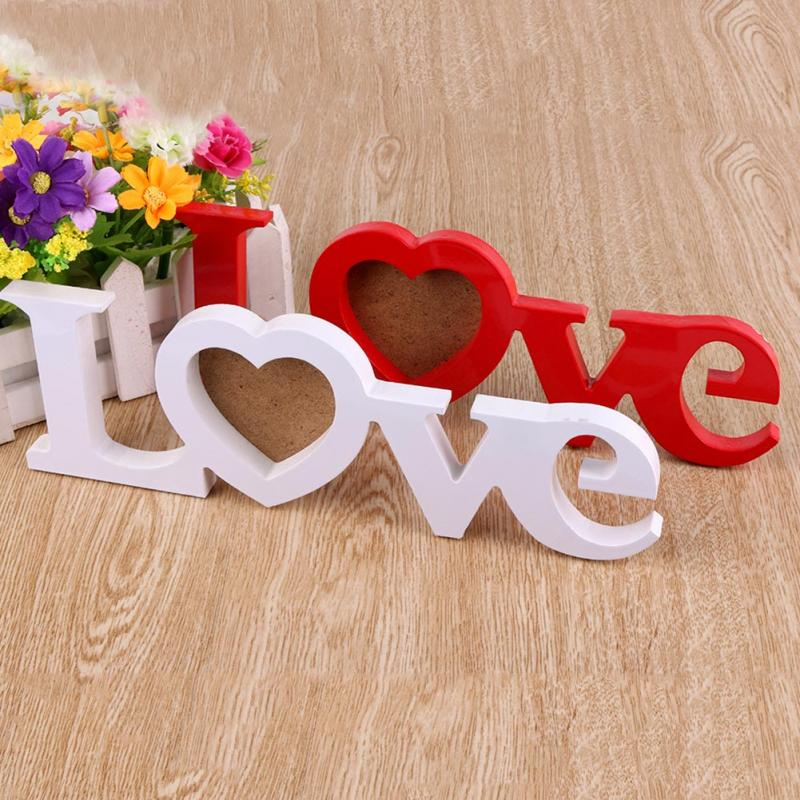 Durable Blanco Rojo del Amor de Boda De Madera Photo Picture Frame ...