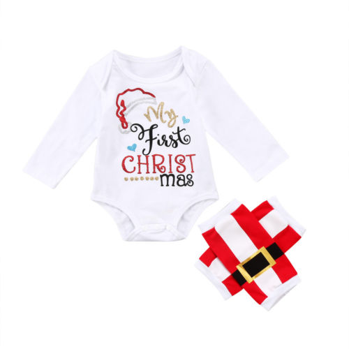3801c6c33b8 2PCS Set My First Christmas Newborn Baby Boy Girl Clothes Long Sleeve Cotton  Romper Tops+Long Pant Outfits Kids Clothing Set