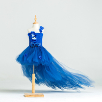 Newest Design Princess Navy Blue Flower Girl Dress With Long Train Tulle Flower Girl Party Tutu
