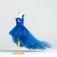 Nouvelle Conception Princesse Marine Bleu Fleur Fille Robe avec Long Train Tulle Fleur Party Girl Tutu Robe Enfant Robe De Mariage