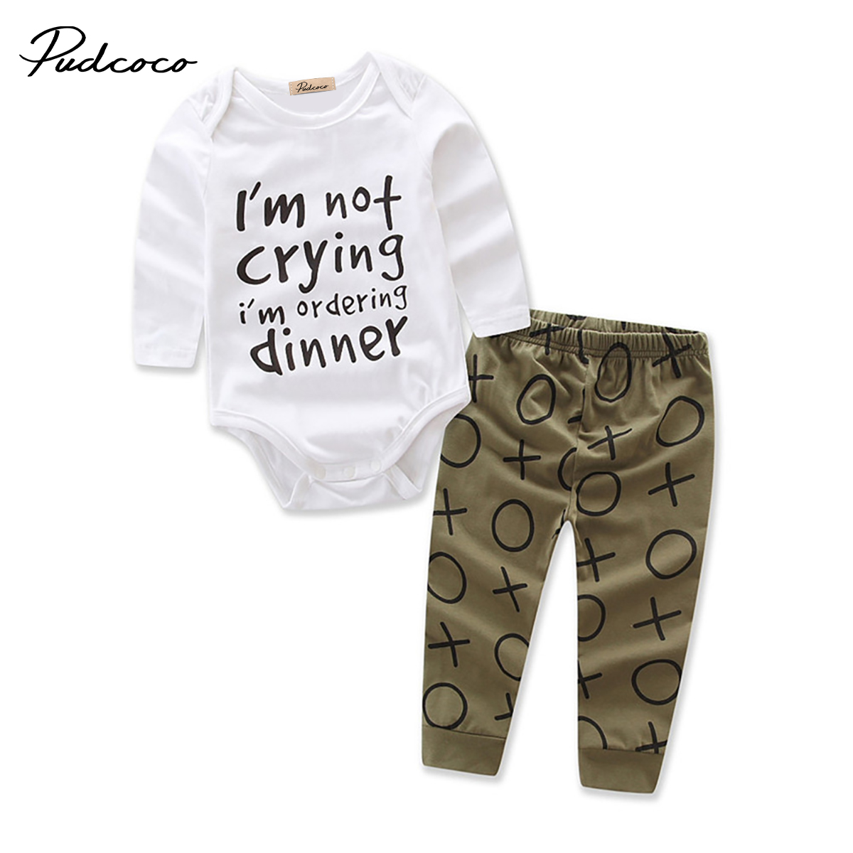 Autumn baby Clothing Set Cute Newborn Baby Boys Girls Cotton Romper Long Pants Clothes 2pcs Outfits Set