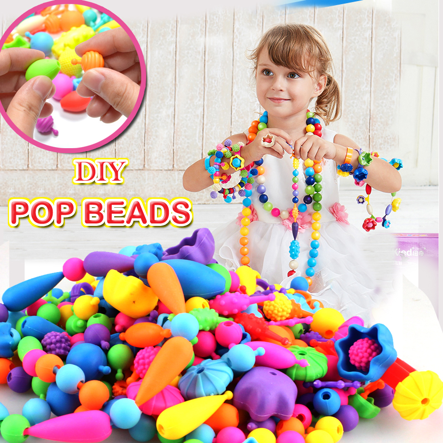 Pop Beads Snap Bead Colourful Jewelry,DIY Fashion Jewelry Kit set Educational girls gift toys Making Necklace Bracelet and Ring
