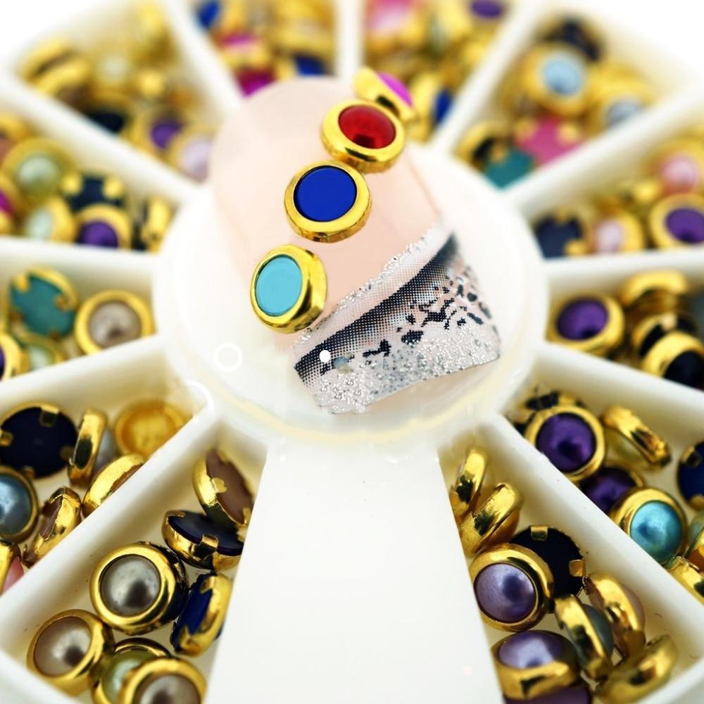 Colorful Pearl Rhinestones Metal Edge 3D Nail Studs